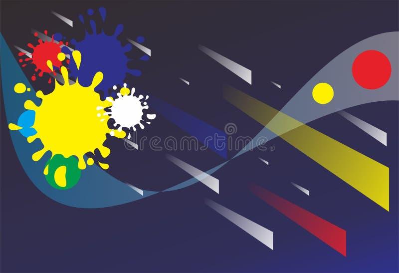 背景完整色彩的collorfull颜色abstrack黑色黄色 库存例证