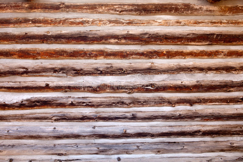 背景客舱日志老墙壁木头 库存图片