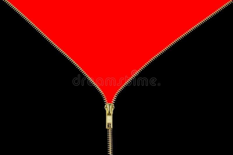 背景对解压缩的拉链的金子红色 图库摄影