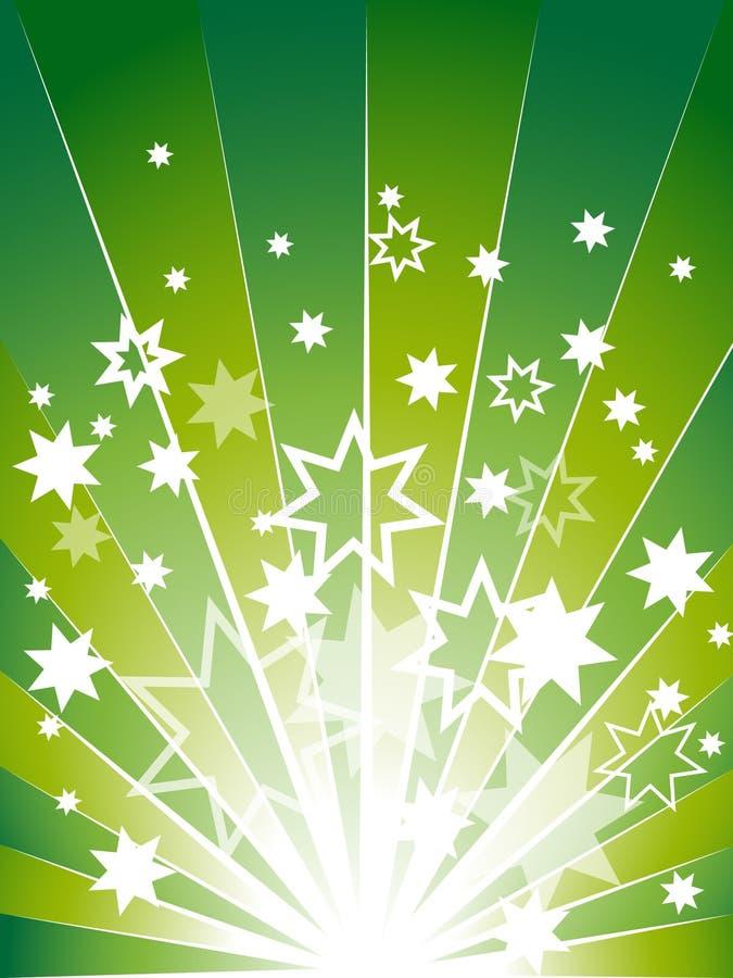 背景展开绿色许多星形 库存图片