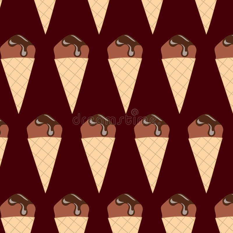 背景巧克力锥体提取乳脂在开心果草莓香草白色的冰冰淇凌 无缝的模式 建筑在向量之下的例证股票 皇族释放例证