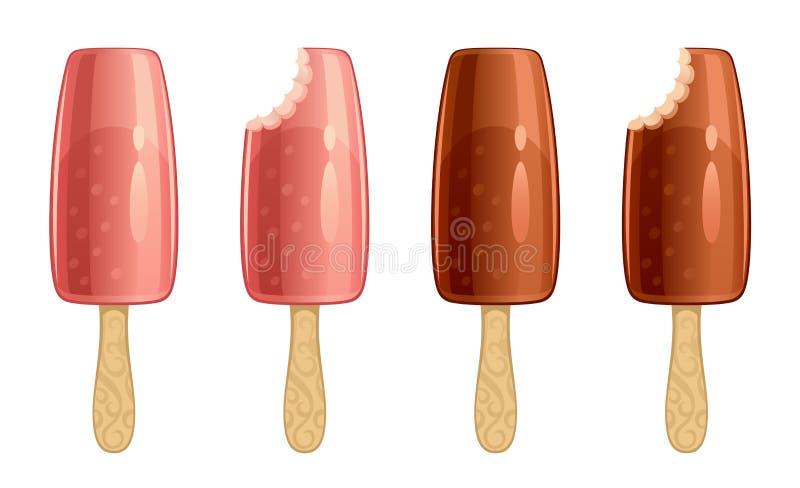 背景巧克力锥体提取乳脂在开心果草莓香草白色的冰冰淇凌 皇族释放例证
