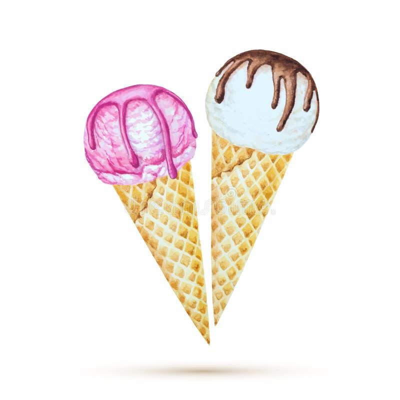 背景巧克力锥体提取乳脂在开心果草莓香草白色的冰冰淇凌 向量例证