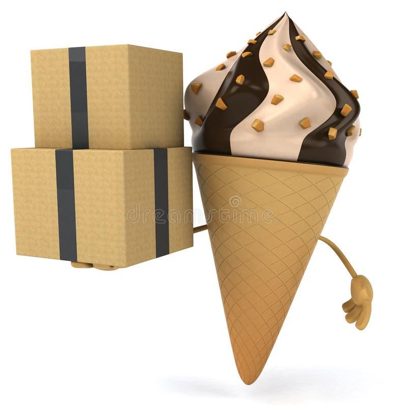 背景巧克力锥体提取乳脂在开心果草莓香草白色的冰冰淇凌 库存例证