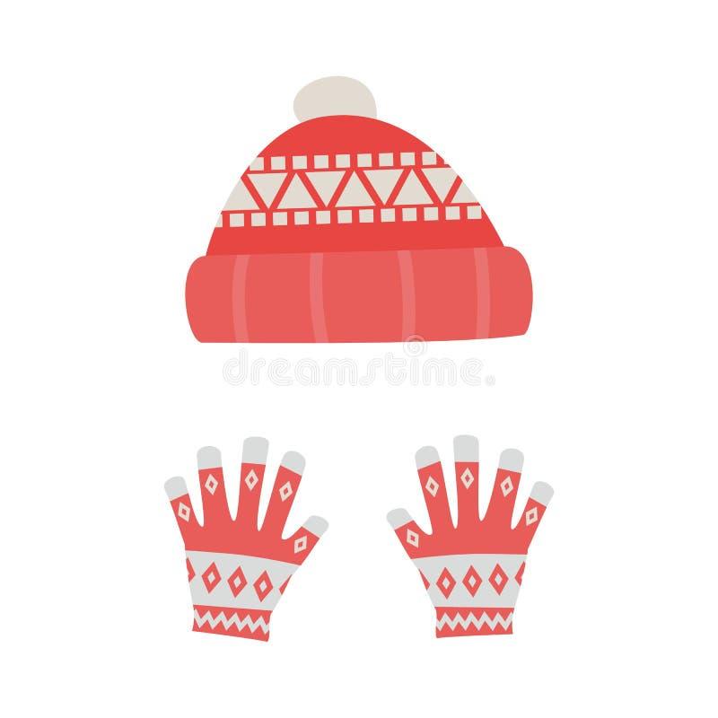 背景帽子查出的白色 冬天编织的帽子 也corel凹道例证向量 库存例证