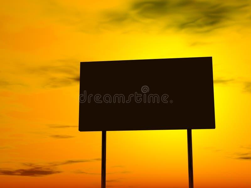 背景广告牌空的夜间延迟天空 皇族释放例证