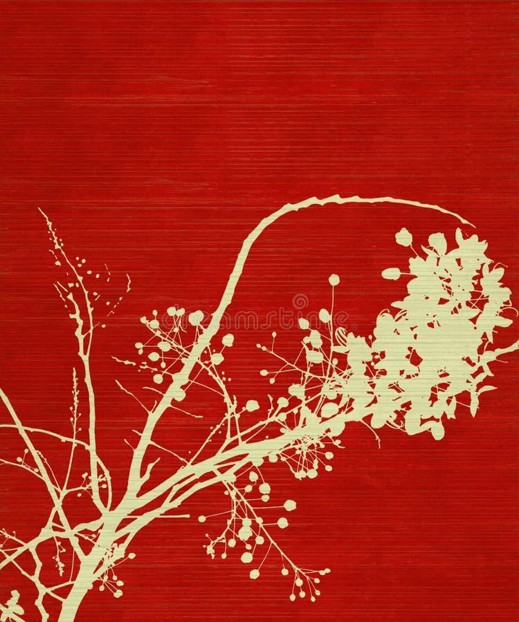 背景开花分行打印红色 向量例证