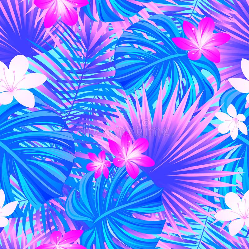 背景开花的樱桃接近的花卉日本春天结构树 五颜六色的热带无缝的样式 热带重复纹理 异乎寻常的叶子,花 向量 向量例证