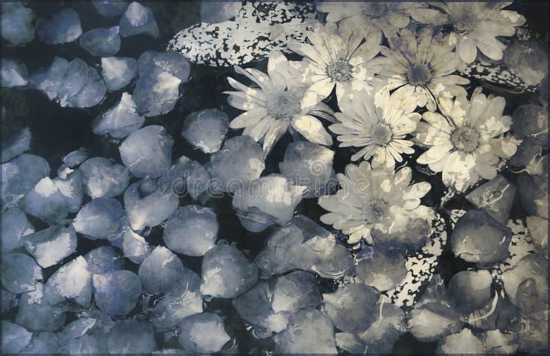 背景开花被绘的grunge 皇族释放例证