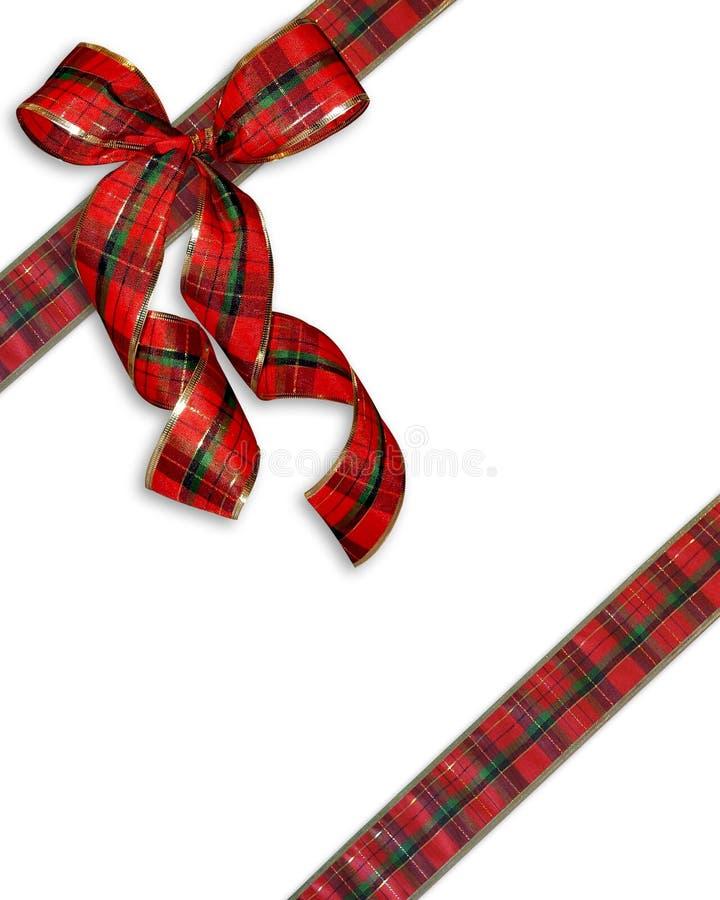 背景弓圣诞节格子花呢披肩存在 库存例证