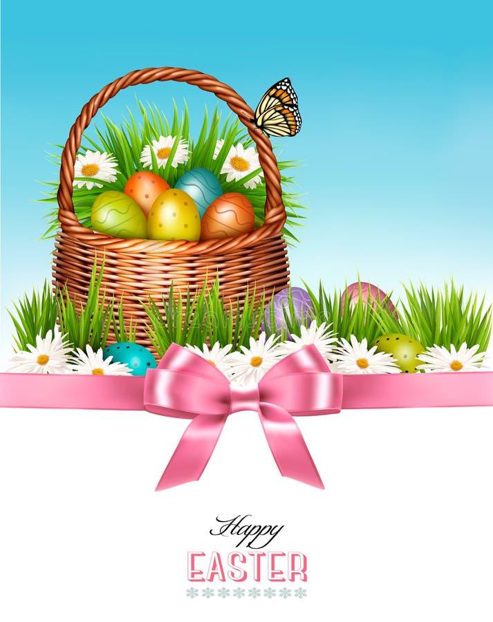 背景愉快的复活节 篮子用鸡蛋和蝴蝶 库存例证