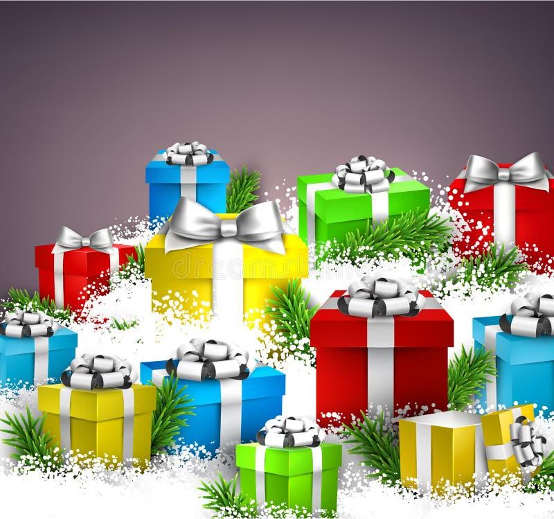 Download 背景把圣诞节礼品装箱 向量例证. 插画 包括有 闪闪发光, 雪花, 颜色, 季节, 设计, 问候, 抽象 - 62539055