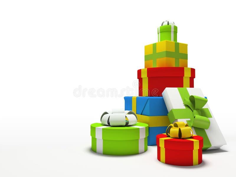 背景把颜色礼品查出的白色装箱 皇族释放例证