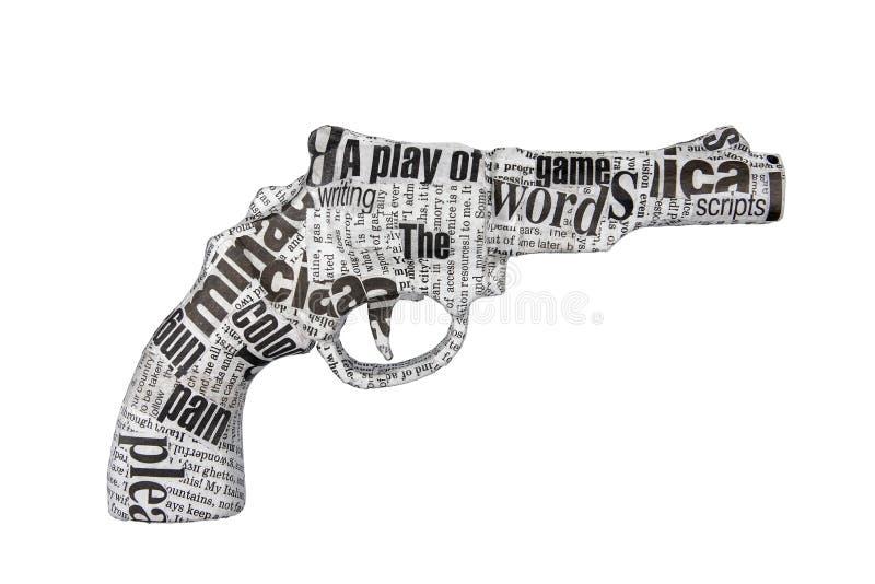背景报纸手枪白色 免版税库存图片