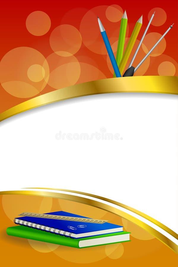 背景抽象学校绿皮书蓝色笔记本统治者笔铅笔夹子包围红色金银铜合金丝带垂直框架 皇族释放例证
