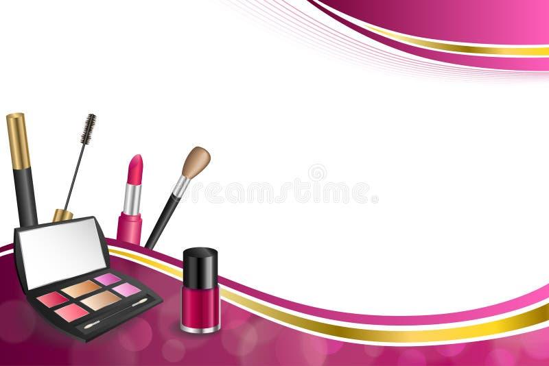 背景抽象桃红色化妆用品组成唇膏染睫毛油眼影指甲油金丝带框架例证 向量例证