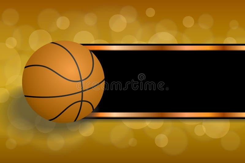 背景抽象橙色体育黑色篮球球剥离框架例证 向量例证