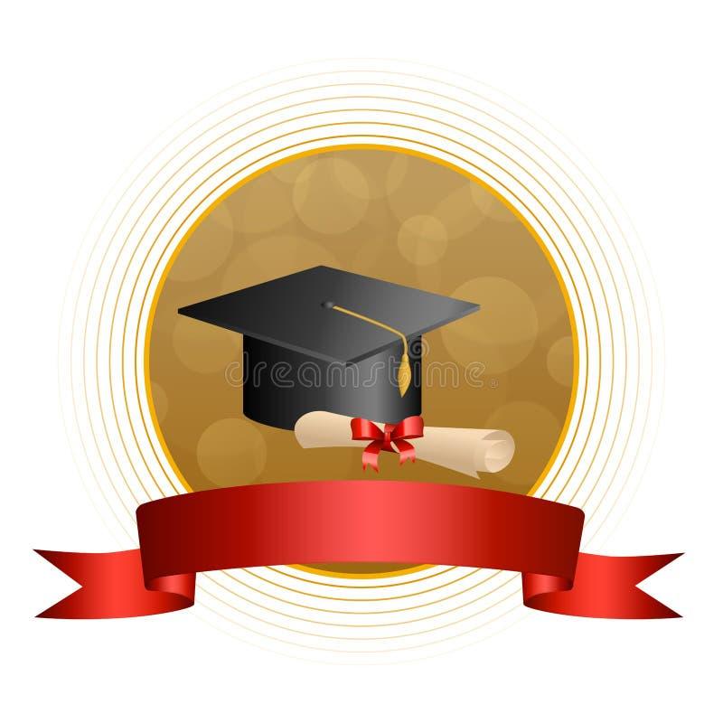 背景抽象米黄教育毕业盖帽文凭红色弓丝带圈子框架例证 皇族释放例证
