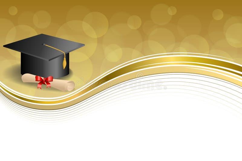 背景抽象米黄教育毕业盖帽文凭红色弓金框架例证 库存例证