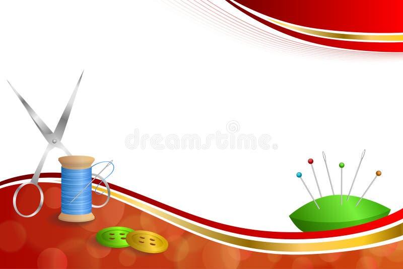 背景抽象缝合针线设备剪按钮针别针蓝绿色红色金银铜合金丝带框架例证 向量例证