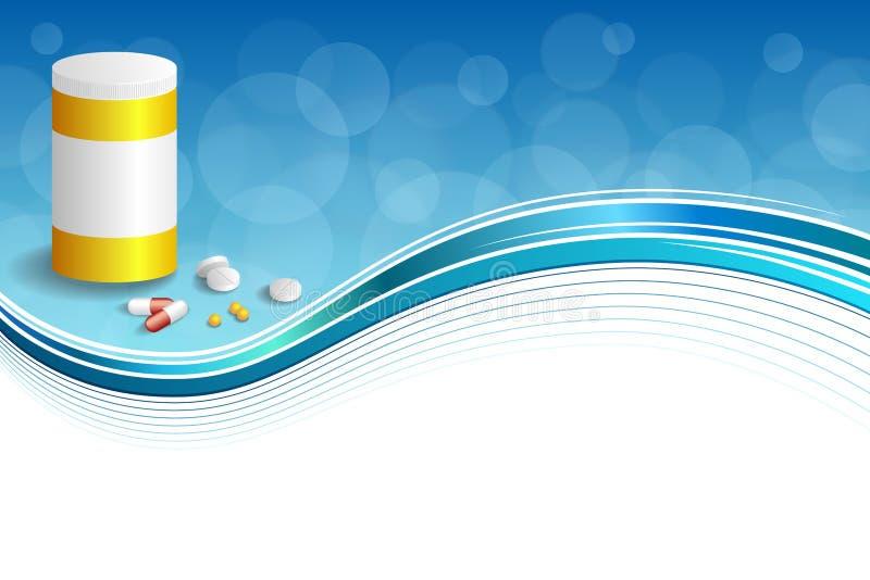 背景抽象蓝色白色医学压片红色药片塑料黄色瓶包裹框架例证 皇族释放例证