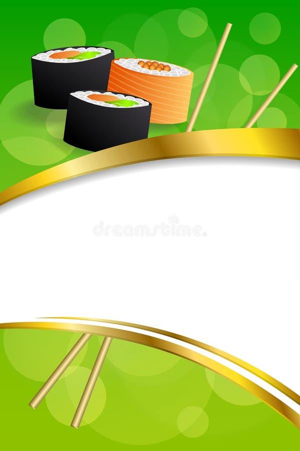 背景抽象食物寿司橙黄色绿色框架垂直的金丝带例证 皇族释放例证