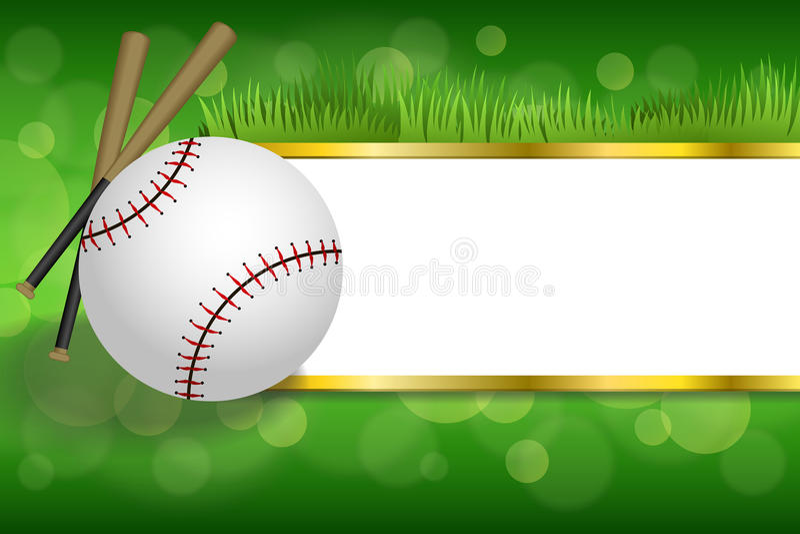 背景抽象绿色体育白色棒球球俱乐部金子剥离框架例证 库存例证