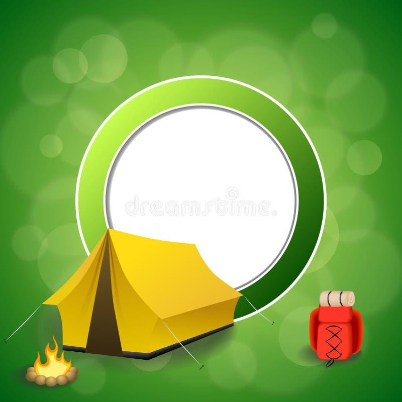 背景抽象绿色野营的旅游业黄色帐篷红色背包篝火圈子框架例证 向量例证