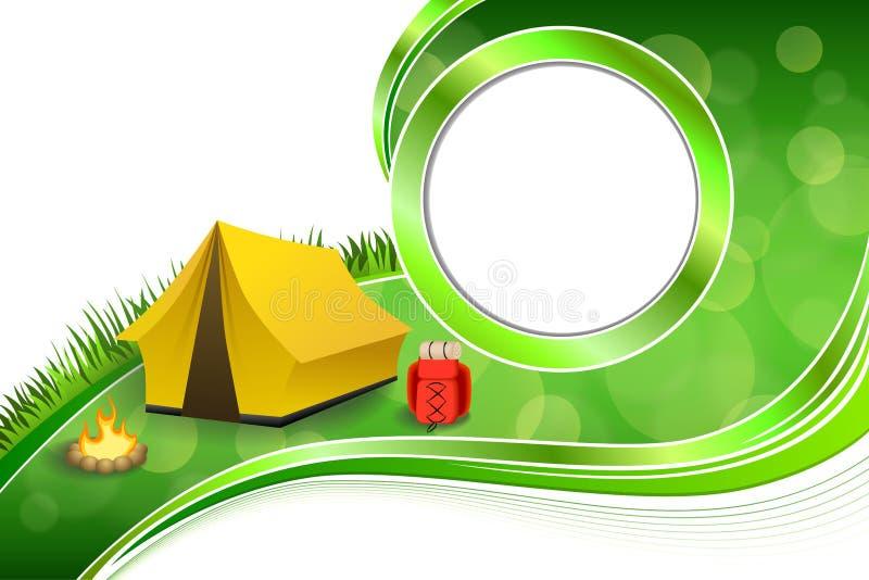 背景抽象绿草野营的旅游业黄色帐篷红色背包篝火圈子框架例证 向量例证
