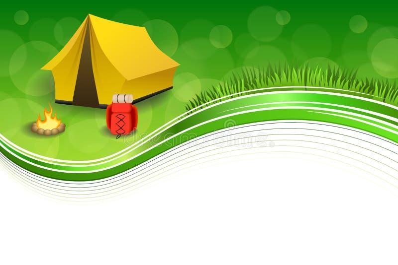 背景抽象绿草野营的旅游业黄色帐篷红色背包篝火框架例证 库存例证