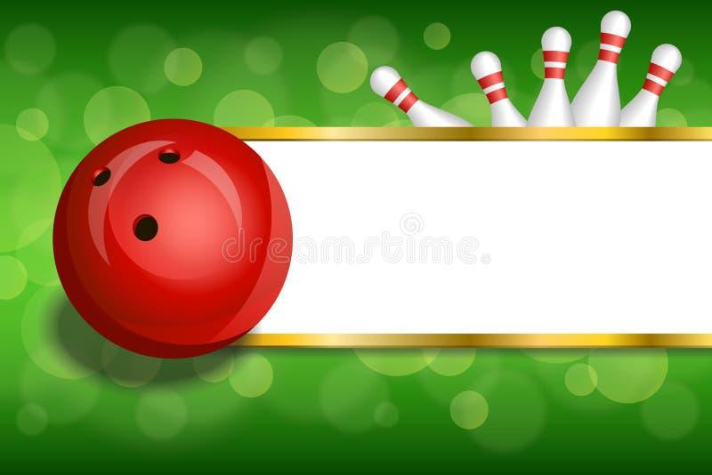 背景抽象绿金镶边滚保龄球的红色球框架例证 库存例证