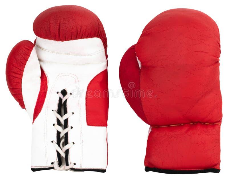 背景拳击手套查出红色白色 免版税库存照片