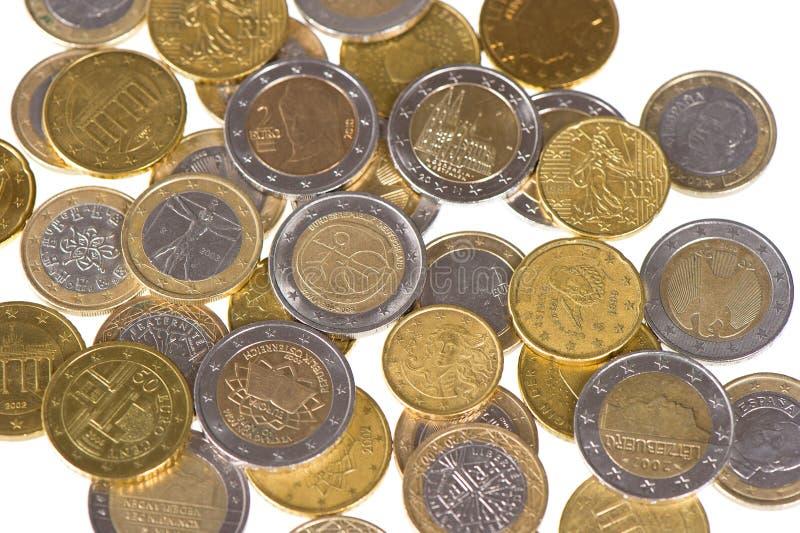 背景接近的硬币欧洲货币 免版税库存图片