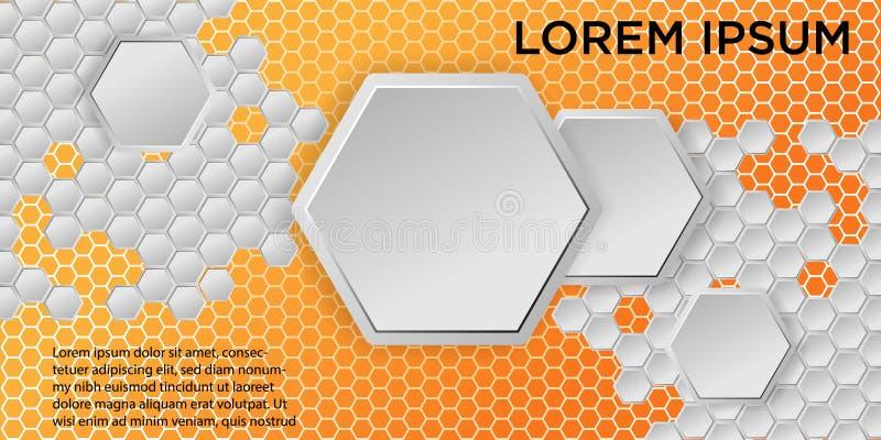 背景接近的蜂窝图象 几何六角形背景的传染媒介例证 库存例证