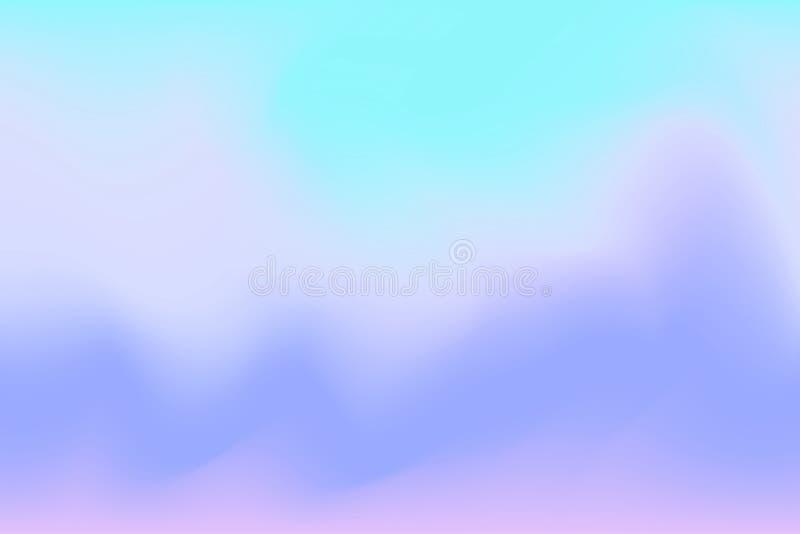 背景摘要的,在淡色艺术的例证梯度被弄脏的蓝色和紫色水彩软的波浪五颜六色的作用 向量例证