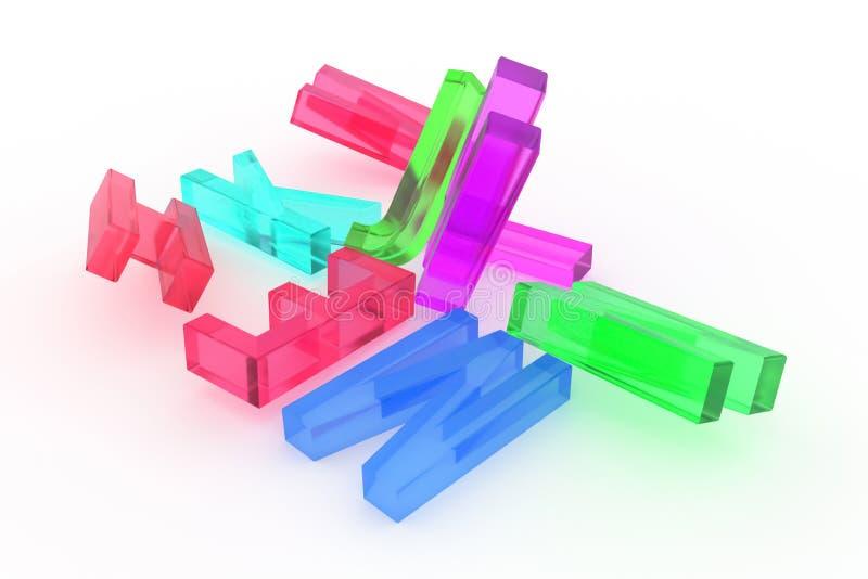 背景摘要CGI印刷术,ABC信件的字母符号有益于设计 五颜六色,3d、标志&堆 皇族释放例证