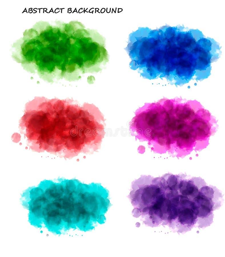 背景收集五颜六色的水彩 库存例证