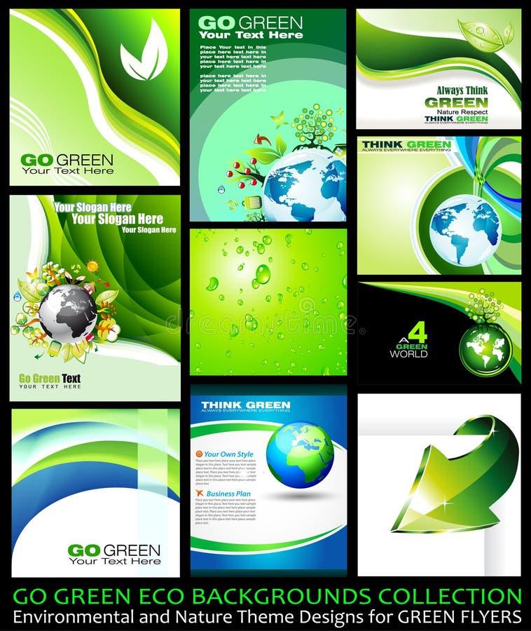 背景收集eco去绿色 库存例证