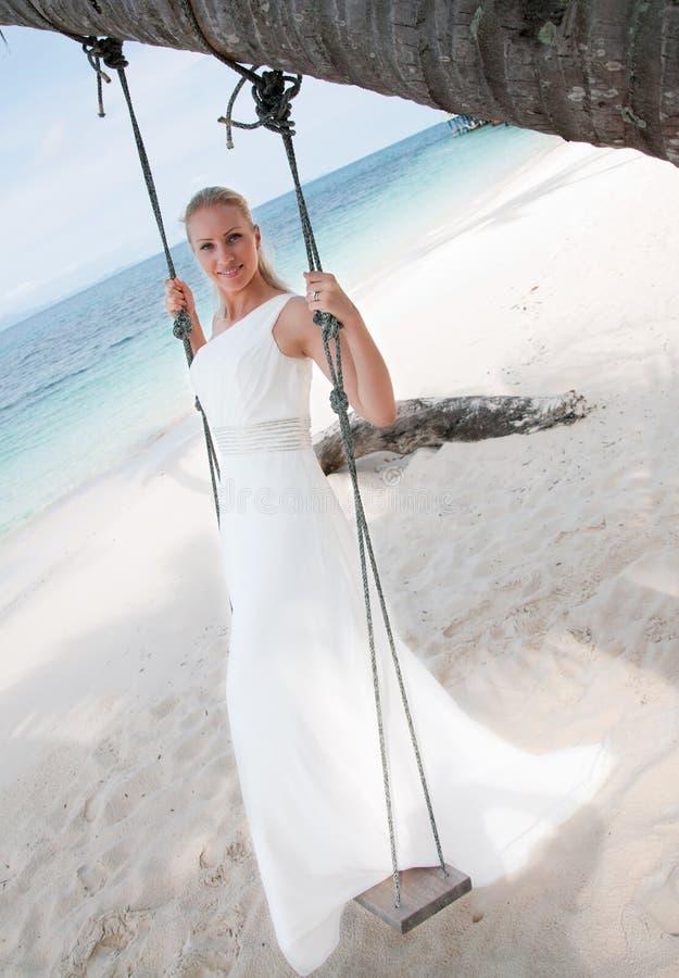 背景新娘海边摇摆热带 免版税库存图片