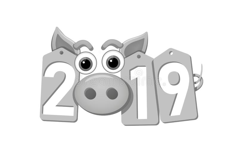 背景新年好 猪面孔,银色销售标记 2019个平的数字 贪心口鼻部 中国人设计装饰 皇族释放例证