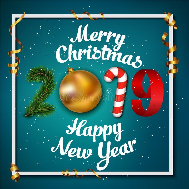 背景新年好 2019由金黄圣诞节球中看不中用的物品、条纹元素、糖果和圣诞树做的数字 向量例证