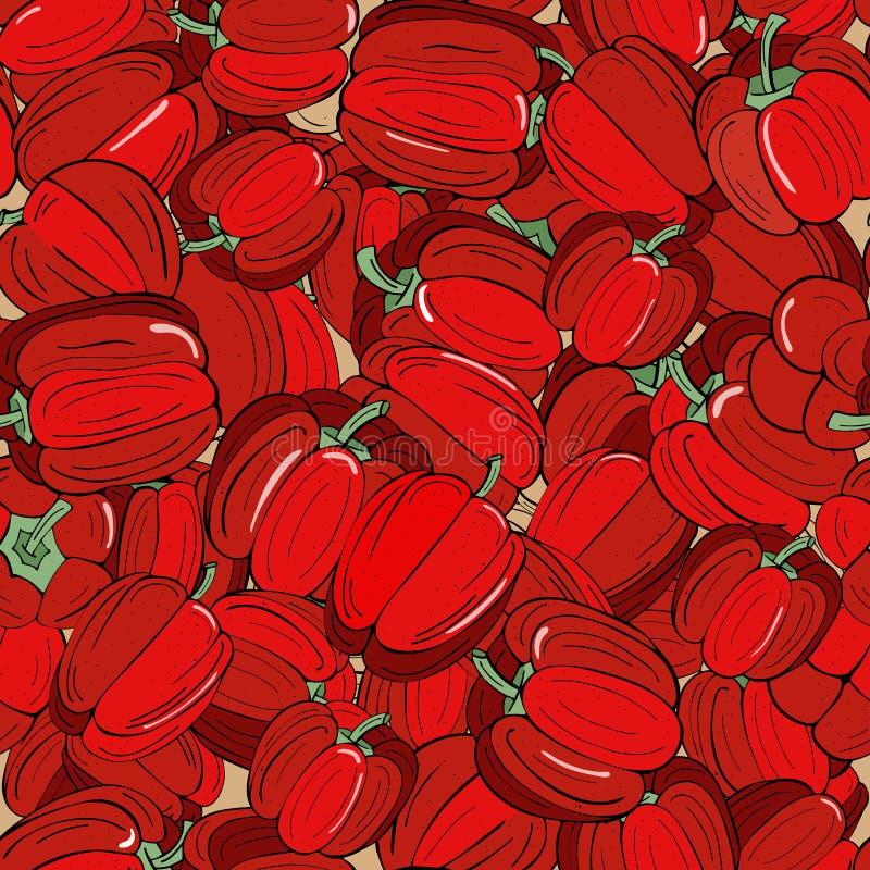 背景无缝与绿色小树枝的成熟红色辣椒粉 皇族释放例证