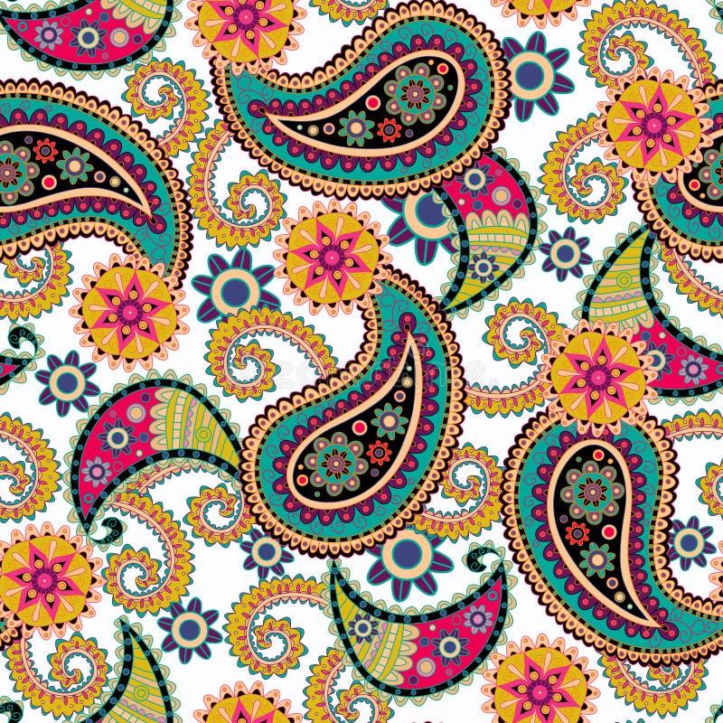 背景无缝的佩兹利 五颜六色的花和叶子在白色 库存图片