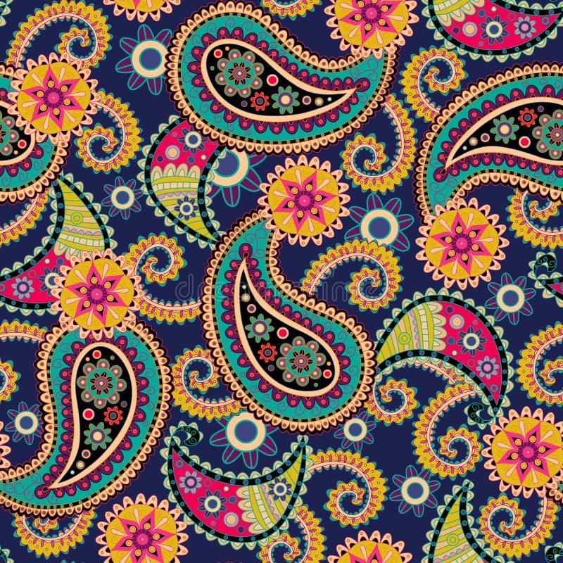 背景无缝的佩兹利 五颜六色的花和叶子在蓝色 库存照片
