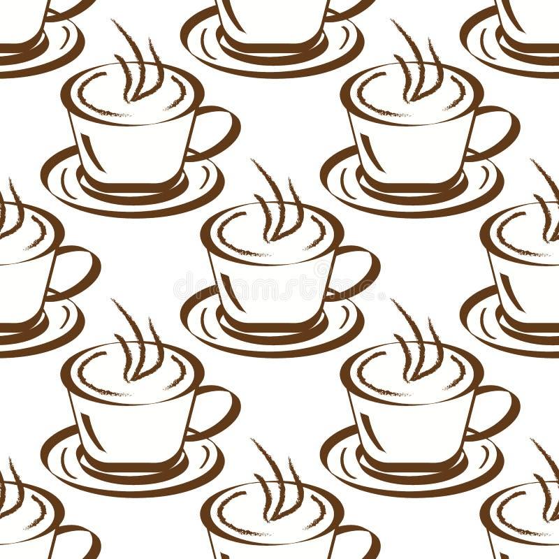 背景无缝的咖啡杯 库存例证