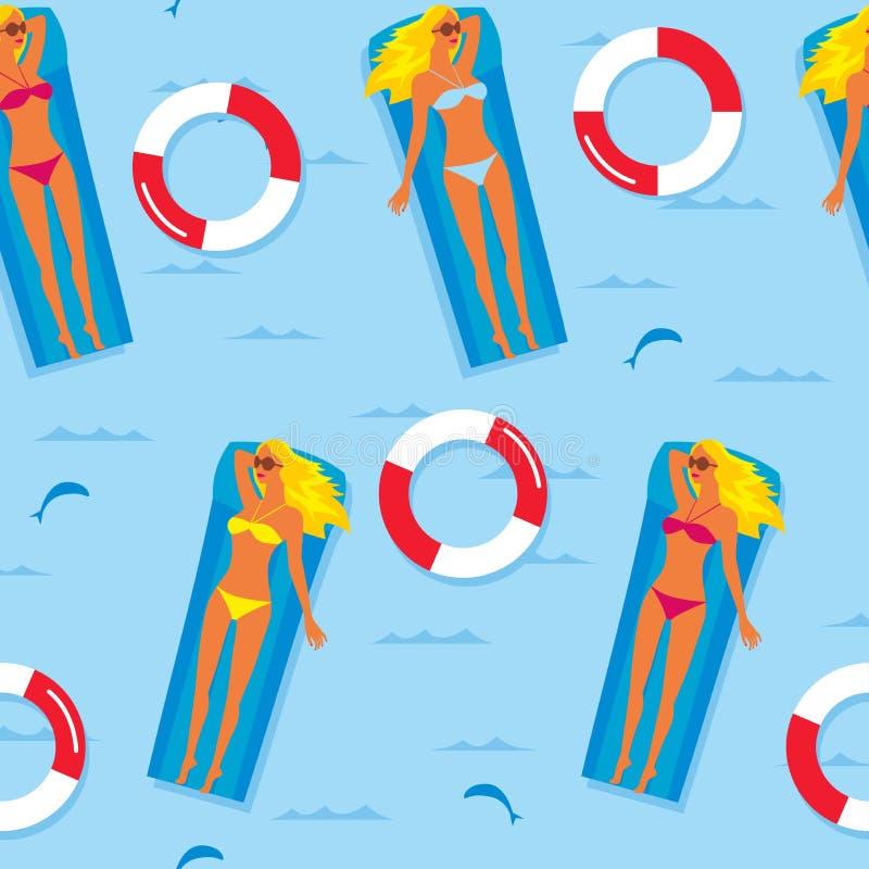 背景无缝的夏天 比基尼泳装的一个女孩在一个可膨胀的床垫的海浮动 织品的模板,包裹pap 向量例证