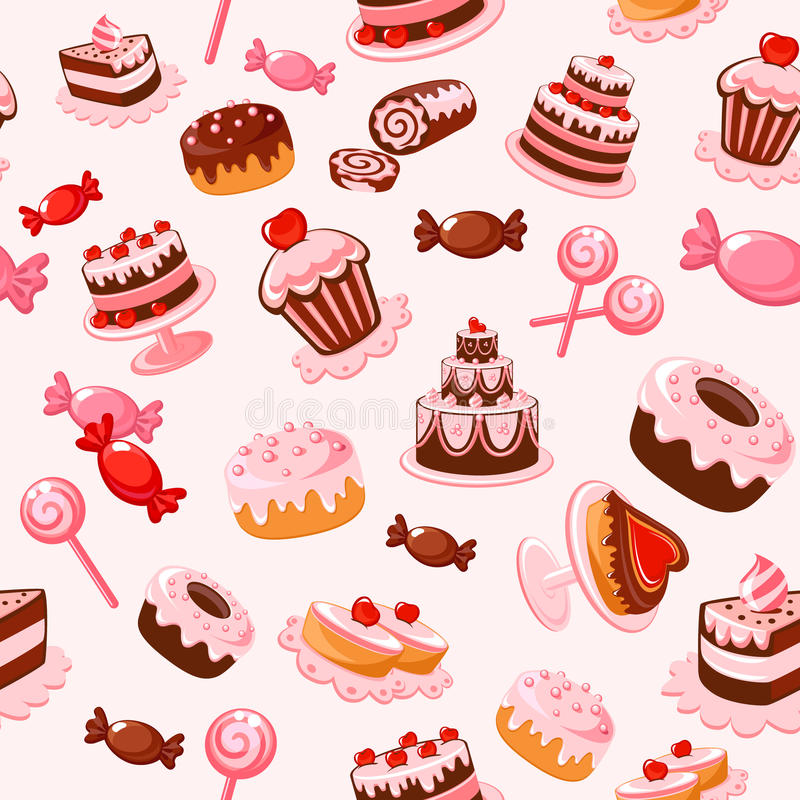 背景无缝的甜点 库存例证