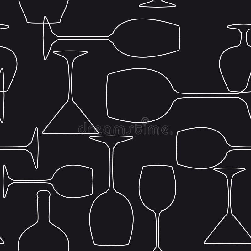 背景无缝的葡萄酒杯 库存例证