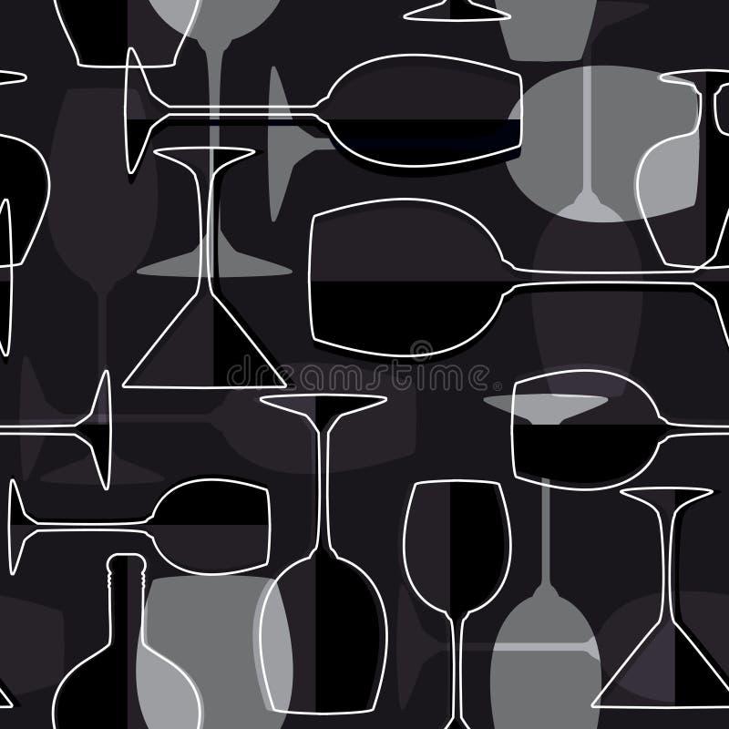 背景无缝的葡萄酒杯 向量例证