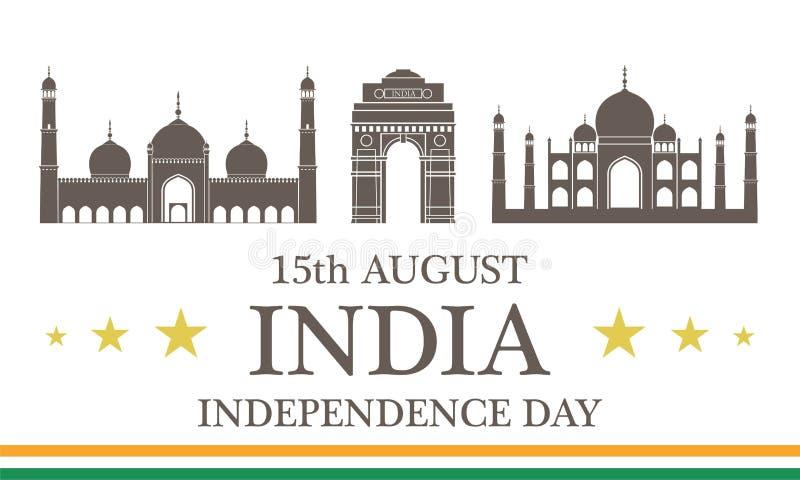 背景日减速火箭grunge的独立 印度 皇族释放例证